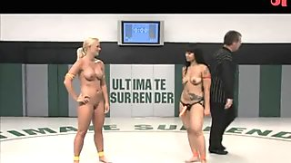 Busty chicks fight their way out