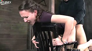 Bound to chair bitchy brunette chick gets mouth fucked tough