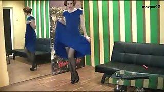 dancing in blue long sexy dress