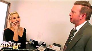 Secretary Sarah Vandella pleasing her boss