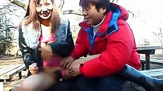 Really wild outdoor Japanese blowjob