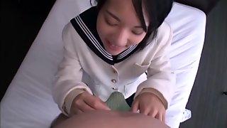Schoolgirl Abe Mikako sucks and swallows